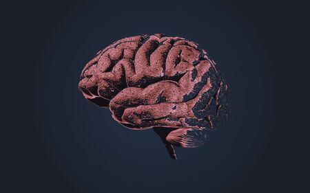 Brain neuro cell growth or damaging drawing with texture shading illustration isolated on dark background