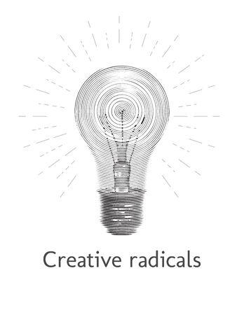 Monochrome engraving light bulb idea and creativity symbol with shining symbol isolated on white background Ilustracja