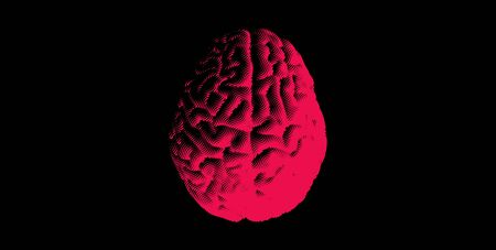 Negative red wave curl engraving human brain top view isolated on dark blue background