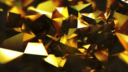 Abstract dark golden triangle geometric form with chromatic aberration effects background