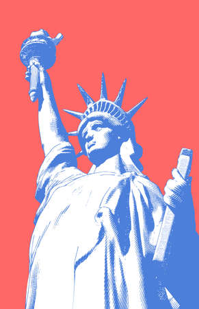 Color engraved vintage crosshatch drawing liberty lady statue from low angle worm eye view camera illustration isolated on bright red background in retro pop art style