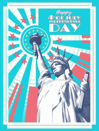 Vintage engraved drawing statue of  lady liberty on sun shining retro style vector illustration in green and orange on white background retro color theme for 4th of July independence day celebration