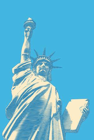 Bright yellow engraved vintage drawing liberty lady statue from low angle worm eye view camera illustration isolated on turquoise blue background