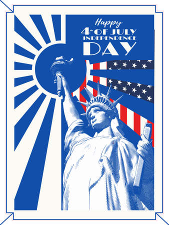 Vintage engraved drawing statue of  Lady Liberty with sun shining retro style vector illustration in blue color on USA flag background for 4th of July independence day celebration