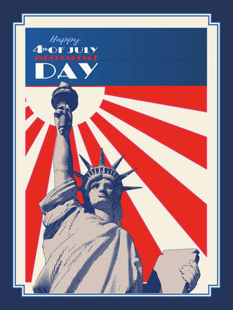 Vintage engraved drawing statue of  lady liberty on sun shining retro style vector illustration in blue red and white background patriot color theme for 4th of July independence day celebration