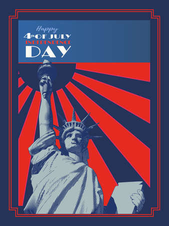 Vintage engraved drawing statue of liberty lady on sun shining retro style vector illustration in dark blue and red background for 4th of July independence day celebration Ilustracja