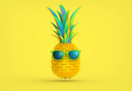 3D rendering colorful fancy pineapple and sunglasses illustration isolated on bright yellow background with clipping path for die cut to use in any backdrop