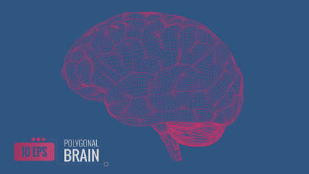 Bright red polygonal wireframe brain isolated on deep blue background