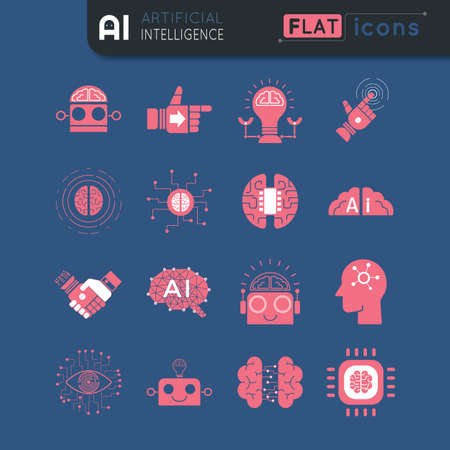 Artificial intelligence simple red color flat icon set on blue background easy to edit stroke and color