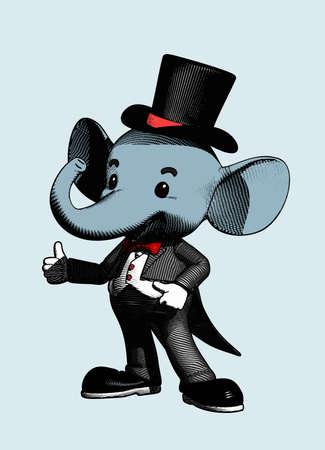Elephant character in tuxedo suit engraving drawing retro style isolated on white background Illusztráció