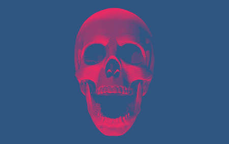 Red engraving drawing skull open mouth with bottom lighting isolated on deep blue background Ilustrace