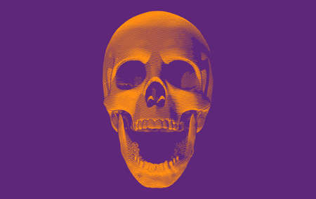 Orange engraving drawing skull open mouth with bottom lighting isolated on purple background for halloween theme