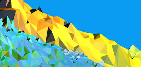 Abstract polygonal mountain diagonal walk path line with blue sky space background