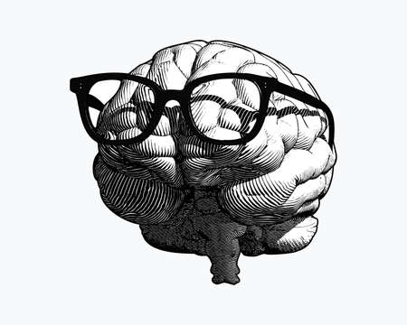 monochrome retro engraving human brain with black old glasses illustration in front view isolated on white background