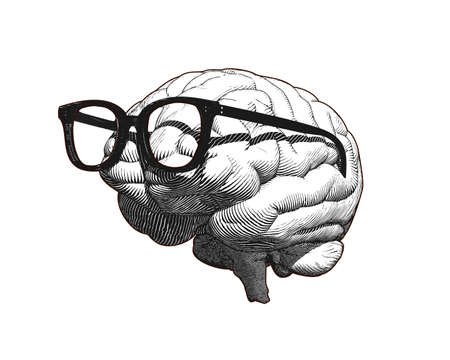 Monochrome retro engraving human brain with old retro glasses illustration in side view isolated on white background Ilustrace