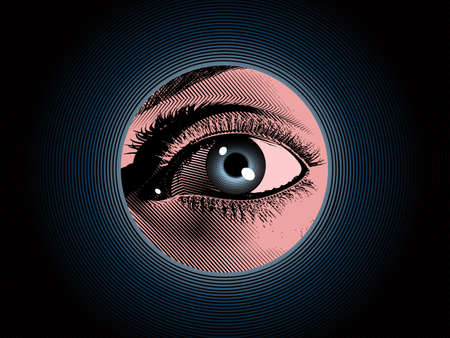 Color engraving drawing human eye hidden spy in the dark blue hole background illustration with mystery and detective mood