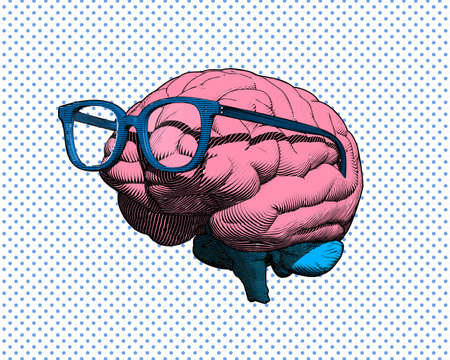 Color retro pop art engraving human brain with eye glasses illustration in side view isolated on blue polka dot and white background