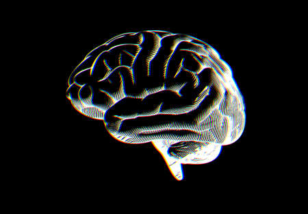 Negative white engraving human brain drawing side view illustration isolated on black background with RGB chromatic aberration effect Illustration