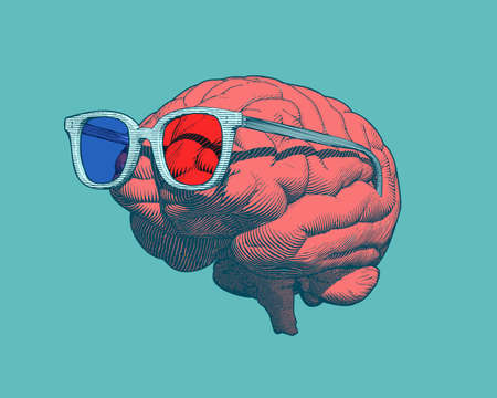 Retro pop art orange engraving human brain with 3D glasses illustration in side view isolated on green background