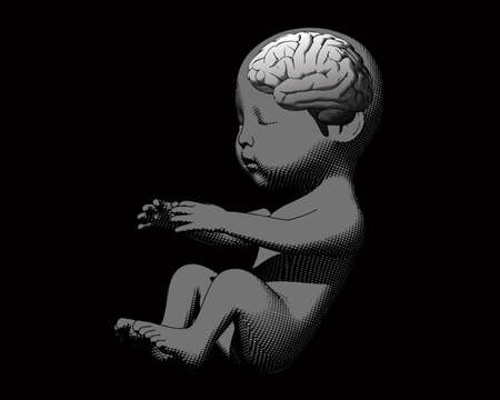Monochrome human infant baby fetus engraving illustration in side view isolated on black background