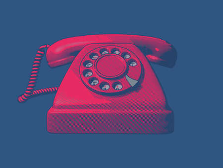 telephone vintage engraving front view in red color isolated on deep blue background Ilustrace