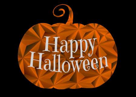Halloween greeting with orange texture carved pumpkin on black background