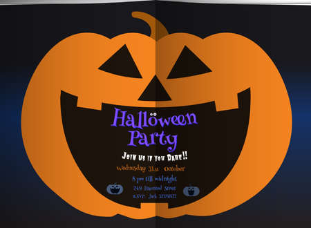 Jack o lantern pumpkin laughing on middle of dark blue double book page background with text space in the mouth for Halloween party invitation