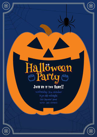 Jack o lantern pumpkin laughing on dark blue background with text space in the mouth for Halloween party invitation