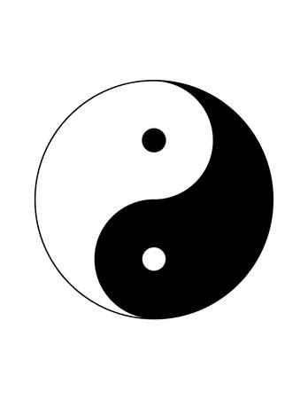 Monochrome black and white Yin Yang chinese symbol isolated on white background