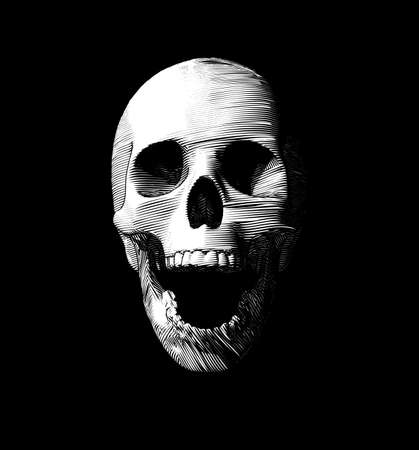Engraving drawing human skull open mouth jaw vector illustration isolated on black background