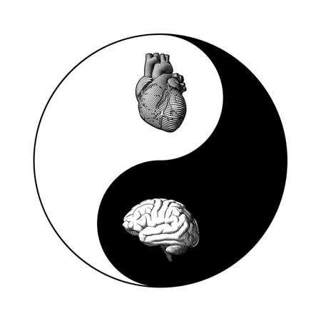 Monochrome black and white Yin Yang chinese symbol with human brain and heart balance illustration isolated on white background