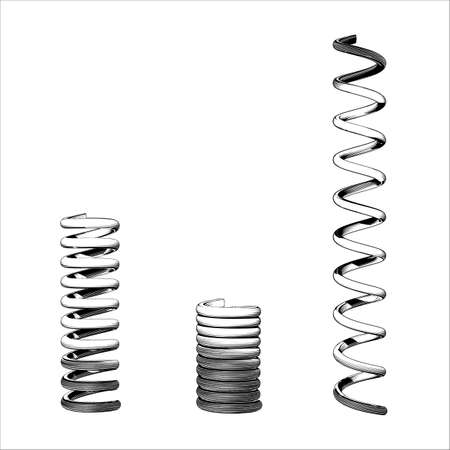 Monochrome engraved vintage vector drawing metal compression spring three style normal squash and stretch form illustration isolated on white background