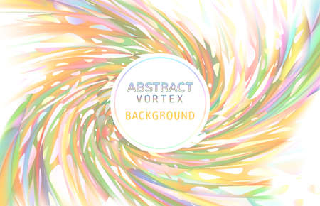 Abstract vortex twist holographic element on colorful spiral BG with white blank space for text copy Ilustración de vector