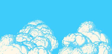 Color engraved vintage retro drawing cloud sky illustration on blue space background
