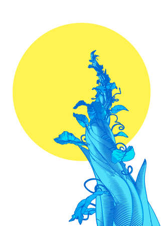 Blue engraved vintage drawing beanstalk worm eye view growing to the blank space yellow moon illustration isolated on white background
