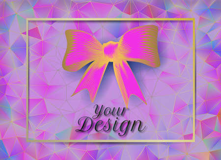 Abstract vintage golden pink ribbon bow  on colorful low polygonal triangular pattern background
