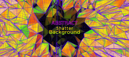 Abstract retro multi color yellow shatter polygonal geometric and 3D wireframe doodle with dark blank space for text copy background