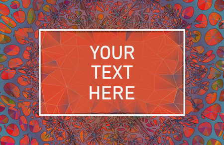 Abstract spikey thorn element on orange polygonal background with blank space frame for text copy