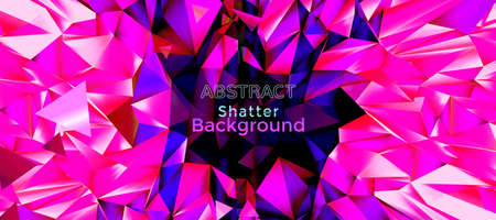 Abstract vector pink holographic shatter polygonal crystal with space for text copy background