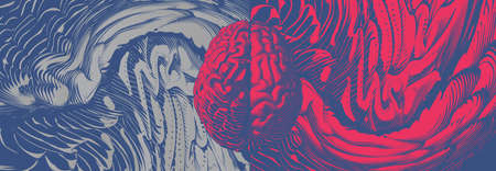 Red and blue engraved drawing human brain with different style of left and right cerebral hemispheres isolated on abstract art element illustration wide proportion background Illustration