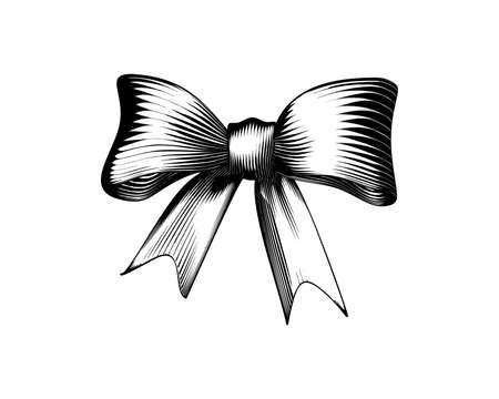 Monochrome vintage engraved drawing of gift ribbon decoration isolated on white background Illustration