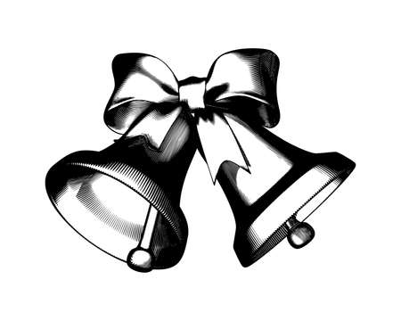 Monochrome vintage Engraved drawing of Christmas decoration bell and ribbon isolated on white background Vettoriali