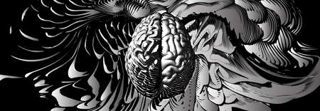 Monochrome engraved drawing human brain with different style of left and right cerebral hemispheres illustration isolated on abstract element wide background