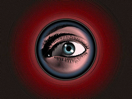 Color engraving drawing human eye hidden looking pass through peephole on the dark red background with mysterious mood