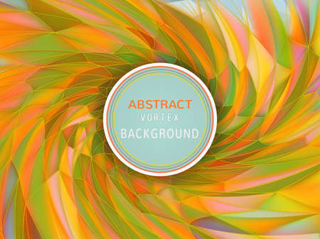 Abstract colorful vortex twist low poly holographic background in orange and green color tone with blank space for text copy Ilustração