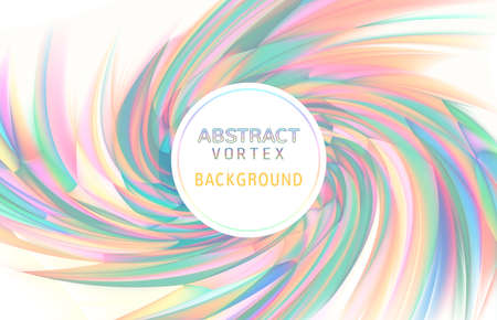 Abstract colorful vortex twist holographic element spiral on white background with blank space for text copy Ilustração