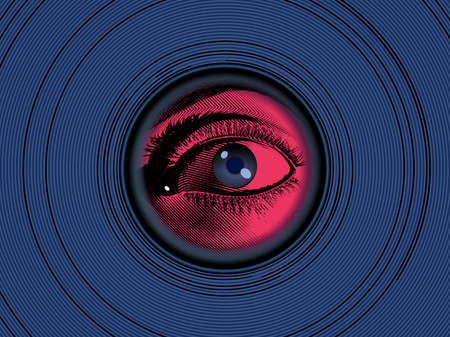 Red vintage engraved drawing human eye hidden looking through peephole on the deep blue optical illusion circle background with mysterious mood graphic illustration