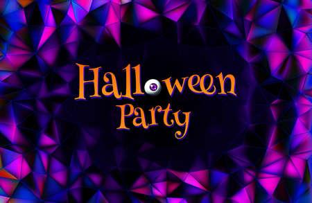 Halloween greeting invitation text with vintage eyeball on dark purple polygonal background
