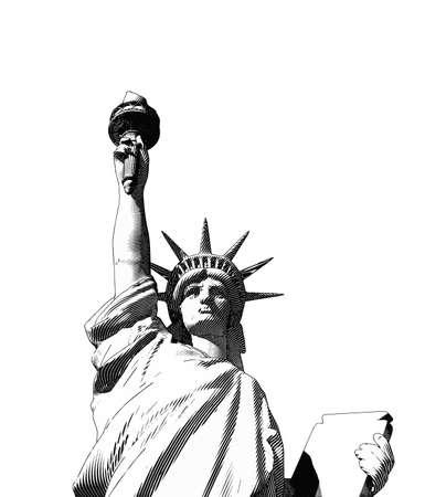 Monochrome engraving drawing liberty lady crop on half body worm's eye view isolated on white background Vektorgrafik