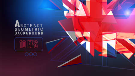 Abstract transparent triangle polygonal United kingdom flag sign sphere glowing on dark space background with future technology culture knowledge or combination and unity conceptual
